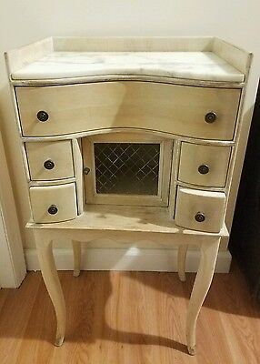 Vintage Pair Of Marble Top Danby End Tables W Storage Drawers And Cabinet