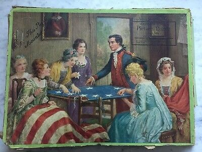 PATRIOTIC FLAG COLONIAL Wooden Jigsaw Puzzle ANTIQUE 1920s  C S HAMMOND & CO
