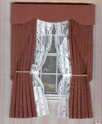 Dollshouse Curtains Brown  Swag With Tied Nets