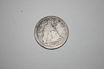 1857-S Seated Liberty Silver 25 Cents Quarter Rare Key Date / Mintmark!