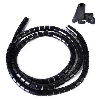 NEW BLACK Spiral Wrapping Bands Cable Tidy Management Organizer Tube Cable 1.5 M