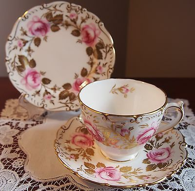Beautiful Coalport Trio Pink Roses and Gilt Leaves