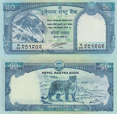 Nepal 50 Rupees (2015) - Everest/Snow Leopard/pNew NEW NOTE UNC
