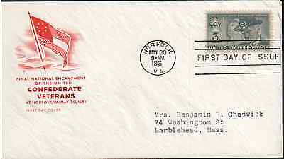 CONFEDERATE VETERANS (#998) 1951, First Day Cover *RARE*