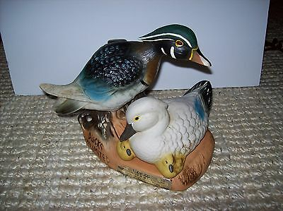 Vintage Ducks Unlimited Jim Beam Bourbon Whiskey Decanter Painted China Empty