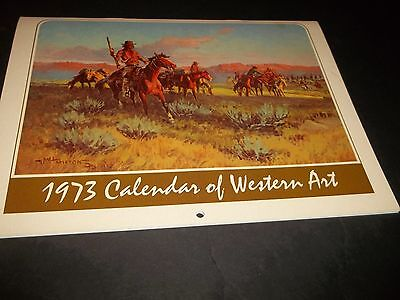 Vintage Calendar Western Art 1973 12 Months Cowboys & Inidans Beautiful Pictures