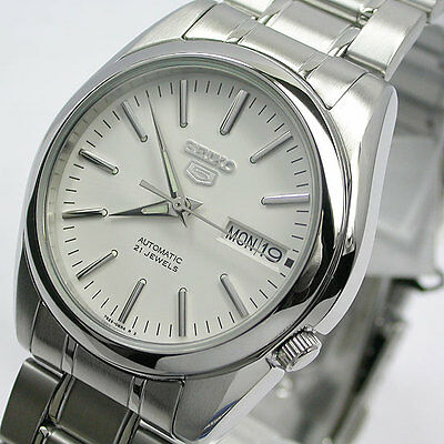 New ! Japan Seiko5 7S26 C Automatic For Men White Dial Stanless Steel