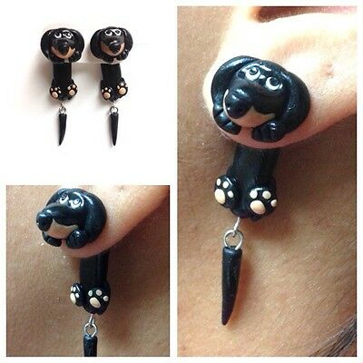 Dachshund Black Earrings