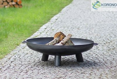 Fire bowl Ø 100 cm, Black iron plate, three Legs, with hole, Classic shape