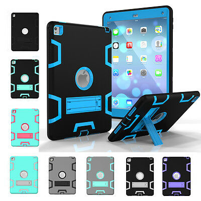 Shockproof Heavy Duty Rubber Hard Stand lot Case Cover For Apple iPad 2 3 4 mini