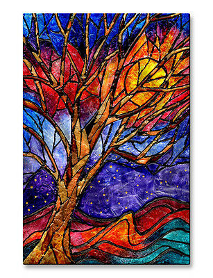 Metal Wall Sculpture Abstract Contemporary Modern Colorful Stained Glass Tree