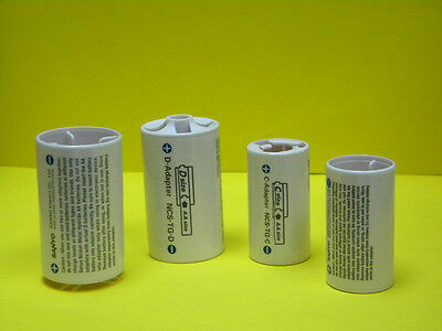 Original Eneloop battery spacers converters changing AA cells into C&D 4-pc pack
