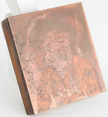 Vintage Copper PRINTING Plate WOODEN Block NATIVE AMERICAN Indian CHIEF WI Photo