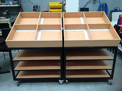 Retail Shop Fitting Display Gondola Mobile With Shelves Heavy Duty Aus Made