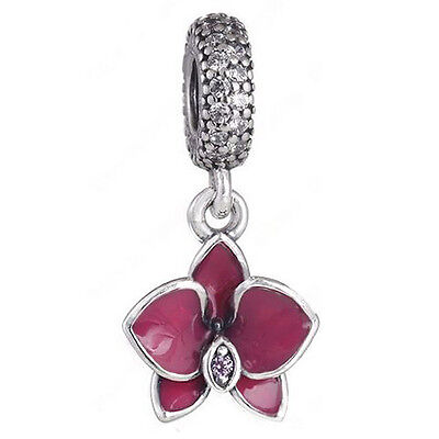 ORCHID 925 Solid Sterling Silver Pave Dark Pink Flower Charm Bead for Bracelet