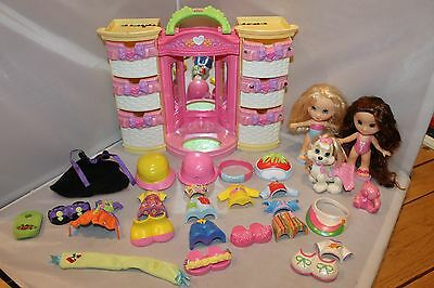 Fisher Price SNAP N STYLE Lot DOLLS BABY DOG WARDROBE Lights up & 47 Accessories