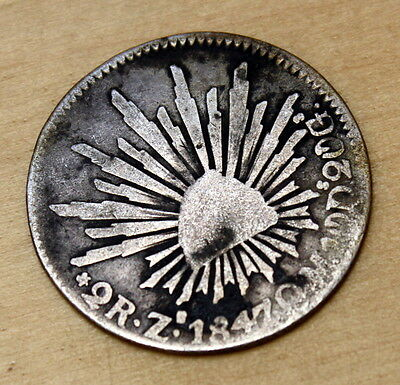 1847 Zs OM Mexico 2 Reales Silver