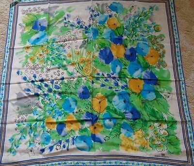 Vintage Large Manlio Bonetti floral silk scarf with hand rolled edges