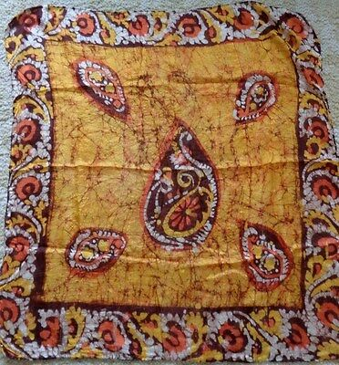 Golden paisley made in India square silk scarf with hand rolled edges