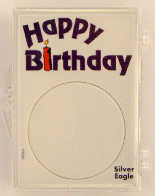 American Silver Eagle Happy Birthday 2x3 Snap Lock Coin Holder, 3 pack