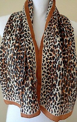 Vintage long animal print silk scarf with hand rolled edges