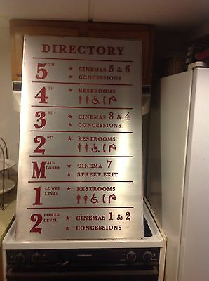 Authentic Sign Vintage Movie Theater Auditorium Directory Vintage Embossed