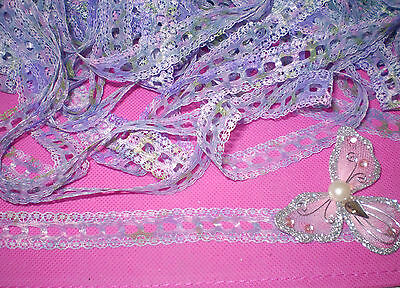 Eyelet/insertion lace 10 metres x 16mm wide lilacs/green and pinks mixed hues