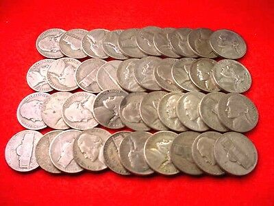 Jefferson Silver War Nickels 1942-1945 35% Silver 40 Coin Roll No Reserve!! #110
