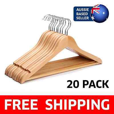 [20 PACK] Solid Wooden Clothes Hangers Wardrobe Coat Pants Suit - Wood Finish