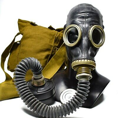 Soviet USSR military army Gas mask GP-5 black with breathing hose