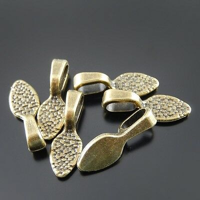 Antiqued Bronze Alloy Glue on Bail Charms Pendant Jewelry Making 50pcs 21*7*6mm