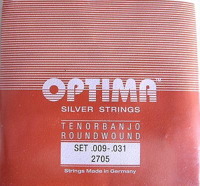 LOT CORDES pour TENORBANJO 4 cordes argenté Loop End OPTIMA made in Germany