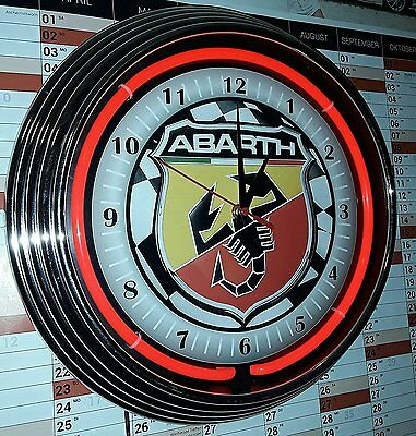 Neon-Uhr Abarth Racing Flag Red Neon Rot