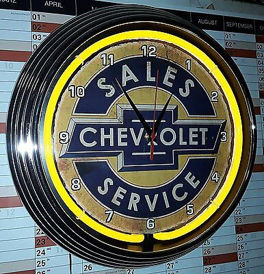 Neon-Uhr Aged Chevrolet Safes Service Sign Yellow Neon Gelb Wallclock, Neon Re
