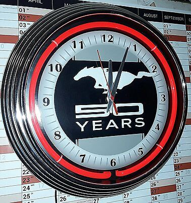 Neon-Uhr Mustang 50 Years Garage Sign Wallclock Red Neon Rot