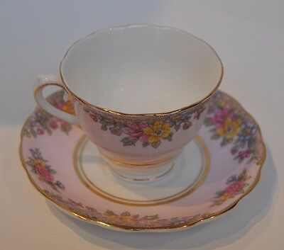 Vintage Colclough Pink with Flower Decor Cup and Saucer - Bone China - England