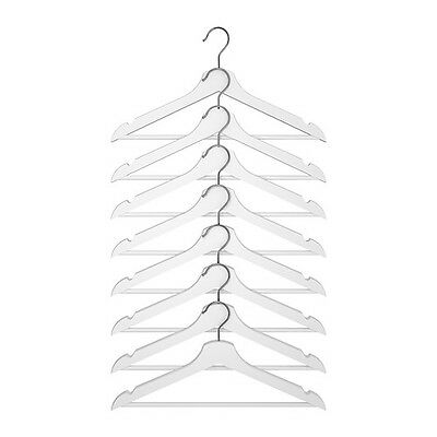 [8 PACK] Solid Wooden Clothes Hangers Wardrobe Coat Pants Suit - White Finish