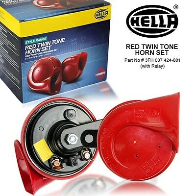 New & Genuine HELLA Red Twin Tone Car Horn (Pair) 12V 118dB Subaru WRX Evo BMW
