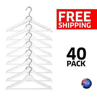 [40 PACK] Solid Wooden Clothes Hangers Wardrobe Coat Pants Suit - White Finish