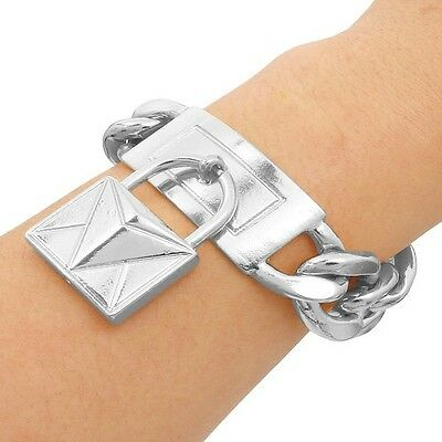 Amazing Chunky Silver Plated Celebrity Inspired Metal Lock ID Statement Bracelet