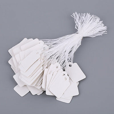 Rectangular Blank White 925 Silver Price Tag 100 Pcs With String Jewelry Label @