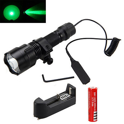 Tactical 5000Lm Q5 Green LED Flashlight Torch Light 18650 Lamp Pressure Switch