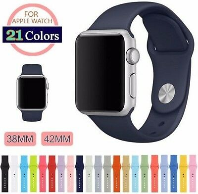21 Color Apple Watch Series 3 2 1 Band, Soft Silicon Sports Bracelet Watch Strap