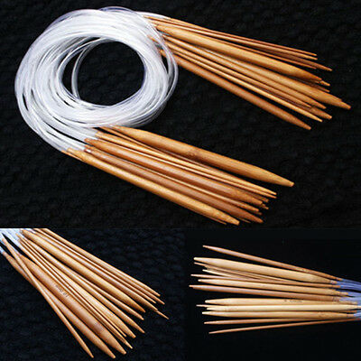 1Set Carbonized Bamboo Plastic Circle Knitting Needles Pins Craft Tool 3.0-10mm