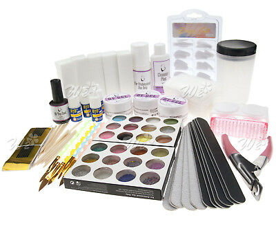 Full Set UV GEL Nail Art False Nail Tips Glitter Brush Tool Kit