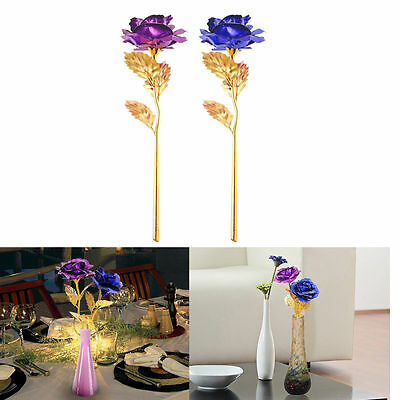 New Creative Gift for Women Girl Friend 24K Gold Plated Rose Flower Decoration