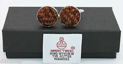 Harris Tweed Cufflinks Brown Copper Boxed Silver Plated Wedding Business Gift