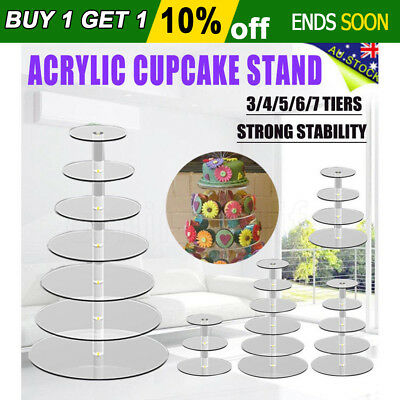 New 3/4/5/6/7 Tier Clear Acrylic Round Cake Cupcake Stand Birthday Party Wedding