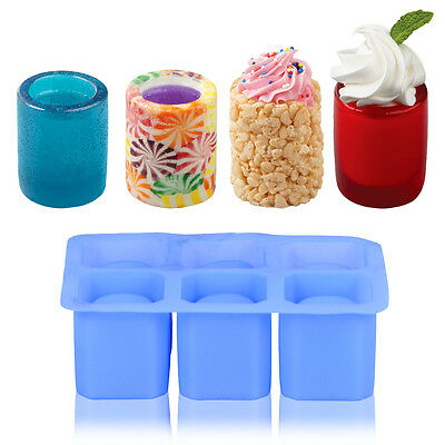 Blue 6-Cups Square Ice Cube Shot Glass Silicone Freeze Mold Maker Jello Mould