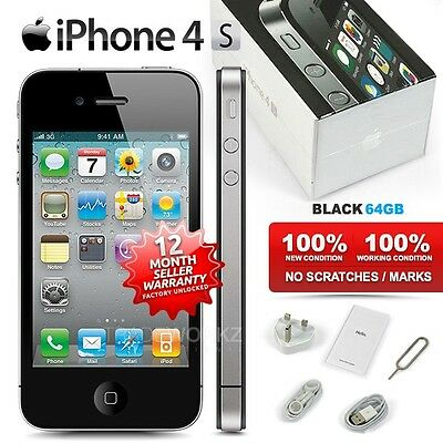 """New Condition Factory Unlocked APPLE iPhone 4S Black 64GB 3.5"""" IPS Mobile Phone"""